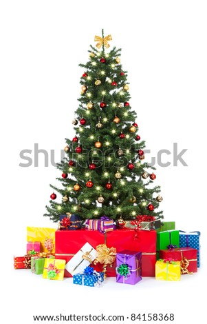 decorated christmas tree on white background with gifts
