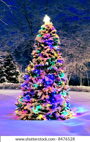 Decorated christmas tree outside with lights covered with snow