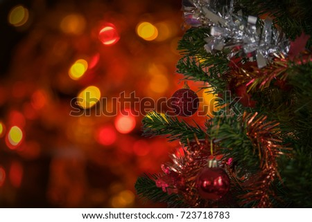Decorated Christmas tree with blurred bokeh background #723718783