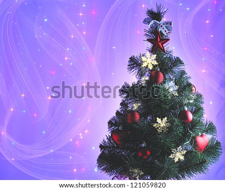 decorated Christmas tree with gifts  on blue background