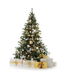 Decorated Christmas tree with golden patchwork ornament artificial gold balls and big gift presents for new year 2018 isolated on white background