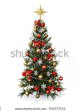 Decorated Christmas  tree with golden star isolated on white background 3d