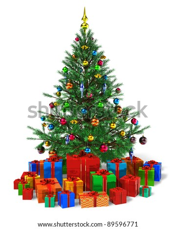 Decorated Christmas tree with heap of color gift boxes isolated on white background