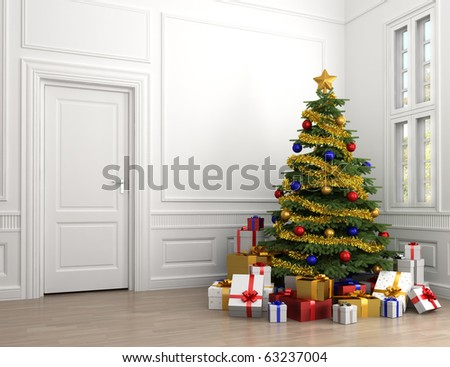 decorated christmas tree with lots of presents in an empty white classic room with copy spade on the left