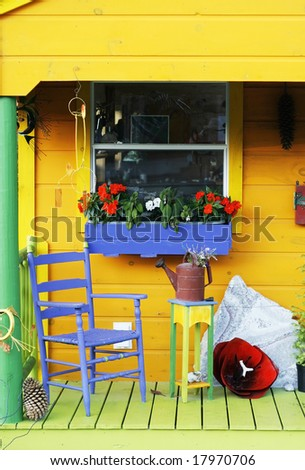 decorated colorful porch