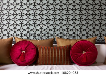 Decorated couch with fancy sofa pillow