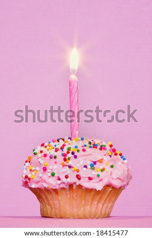 decorated cupcake with one lit candle on pink background