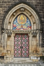 decorated door to the Gothic church