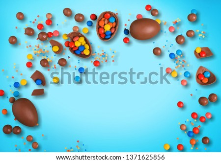 Decorated Easter eggs and space for text on color background, top view      #1371625856