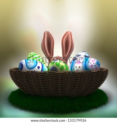 decorated Easter eggs on the grass in basket with Easter Bunny ears