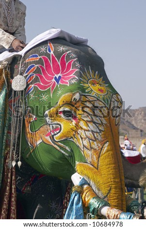 Decorated elephant at the annual elephant festival in Jaipur, India - stock photo