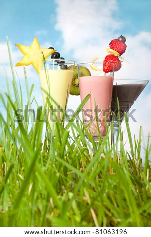 Decorated fruit smoothies standing in green grass