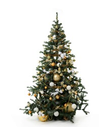 Decorated gold Christmas tree with golder patchwork ornament artificial star hearts balls bells presents for new year isolated on white background