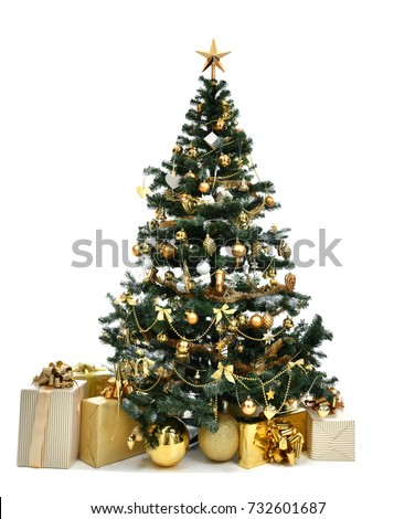Decorated gold Christmas tree with golder patchwork ornament artificial star hearts presents for new year 2018 isolated on white background #732601687