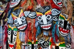 Decorated hand made wooden mask