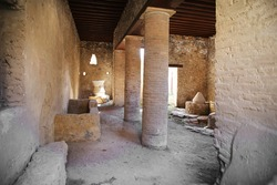 Decorated interior of acient roman house in Pompeii, city destriyed by volcano in 79AD in Italy