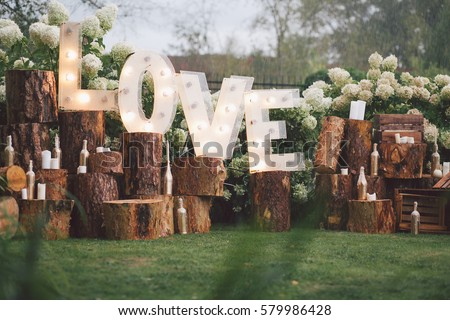 Decorated meadow for wedding ceremony. #579986428