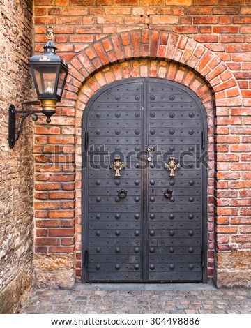 decorated metal door at...