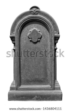 Decorated, oval granite tombstone on white background  ストックフォト ©