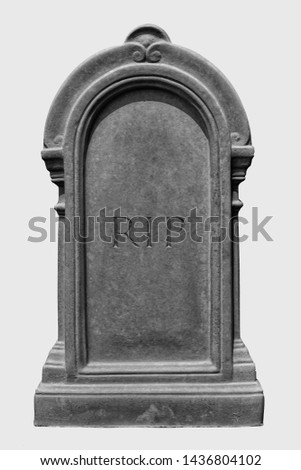 Decorated, oval granite tombstone on white background with engraved R.I.P. lettering  Stock photo ©