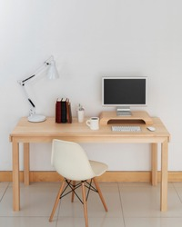 decorated personal desks and tools.