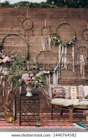 Decorated photo zone in the style of boho. #1440764582