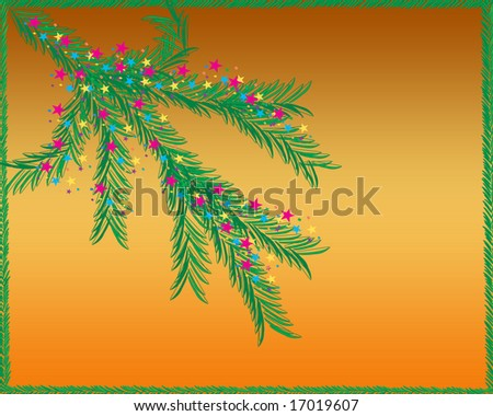 Decorated Pine tree branch on a gradient background