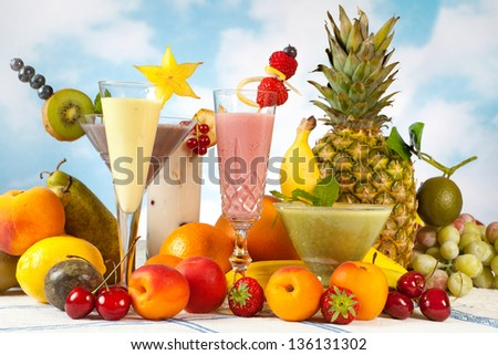 Decorated smoothies and an abundance of summer fruits