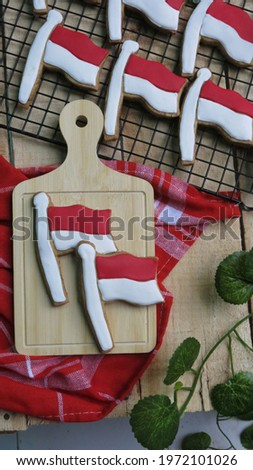 Decorated sugar cookies in Red and White Indonesian Flag or Bendera Merah Putih. Indonesian Independence Day theme or Kukis hias bendera Сток-фото ©