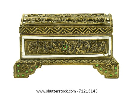 Decorated Thai chest isolated on white background. - stock photo