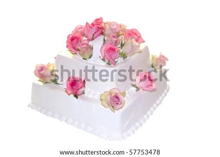 Decorated Wedding cake ,isolated on white background