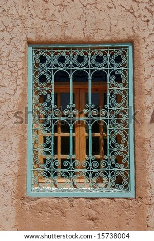 decorated window in alto atlas morocco