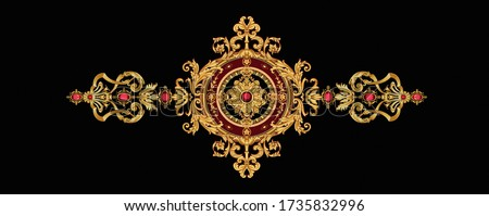 Decorated with elegant and luxurious patterns. Rococo, Baroque style, retro elements, invitation cards, textiles, wrapping paper and fabric design.
