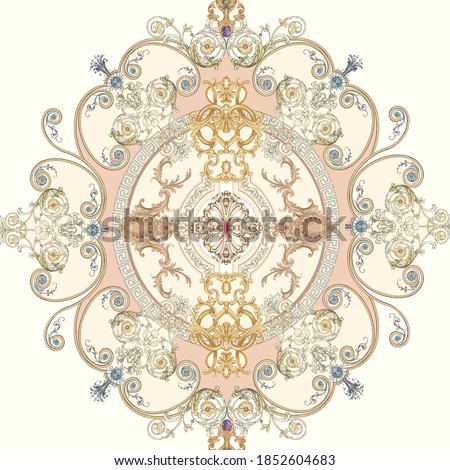 Decorated with elegant and luxurious patterns. Rococo, Baroque style, retro elements, invitation cards, textiles, wrapping paper and fabric design. Сток-фото ©