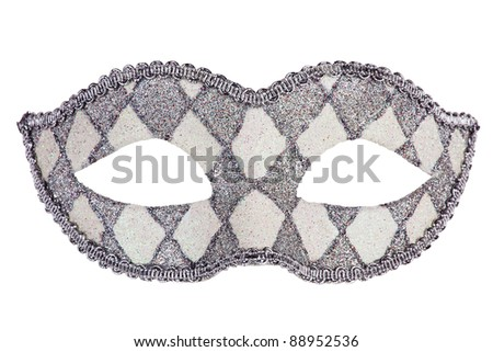 Decorated with mother of pearl original carnival mask on white background