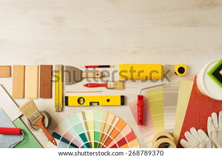 Decorating and DIY hobby tools and color swatches with copy space on top, top view
