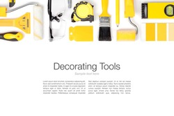 decorating and house renovation tools and accessories on white background. flat lay composition in yellow colors with copy space