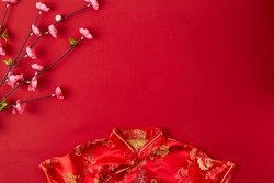 Decorating Design Chinese new year 2019 red background. with blessing text mean happy ,healthy and wealth. mean best wishes and good luck for the coming Chinese new year. flat lay (Foreign text means