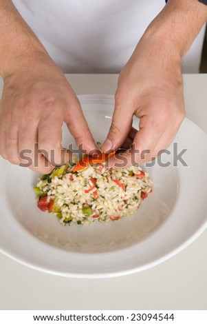 decorating risotto