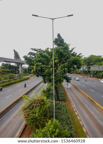 Decorating the highways of the city. Decorating the highways of the city. Go green #1536460928