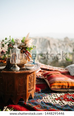 decoration and decoration of an outdoor wedding ceremony in Cappadocia