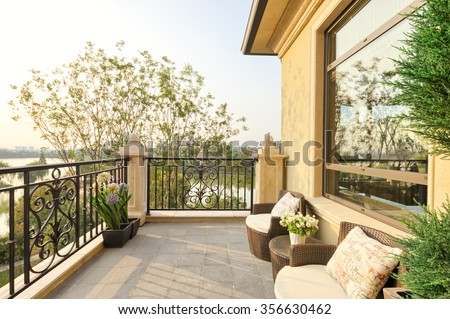decoration and furniture in modern balcony #356630462