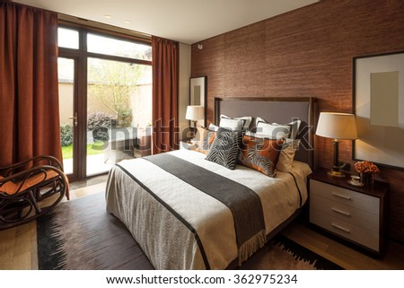decoration and furniture in modern bedroom  #362975234