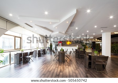 decoration and furniture of coffee bar in modern gym #505650742