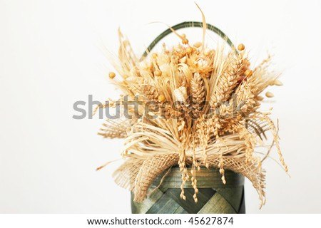 Decoration - bouquets of dried flowers and corn