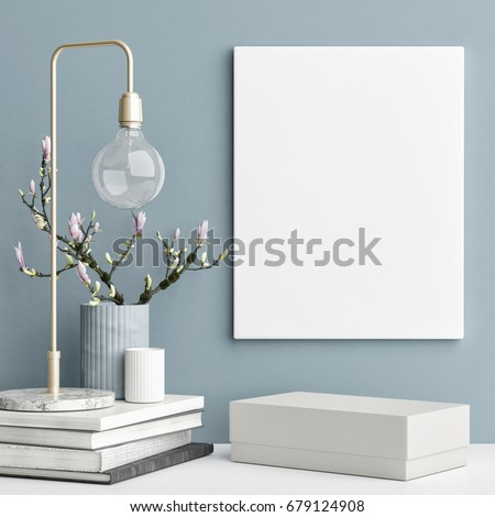 Decoration concept interior, mock up poster on blue wall, 3d illustration