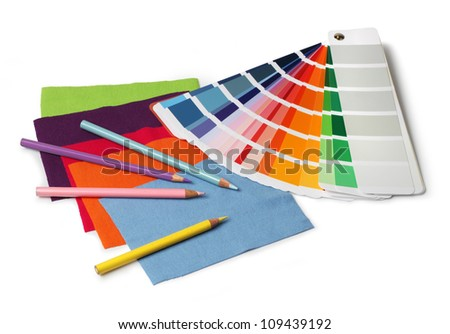 Decoration designer color and fabric swatch samples and pencils