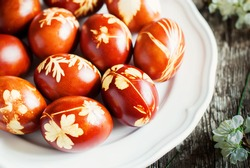 Decoration Easter Eggs with Fresh Leaves and Onions Peels