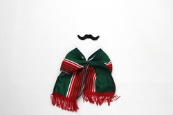 Decoration for Mexican party: tricolor tie bow, mustache, pinwheels, handmade doll with the colors of the Mexican flag green, white and red