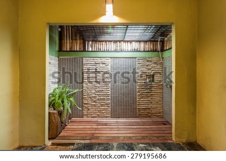 Decoration in modern style bathroom mix with wood ,rock and ceramic